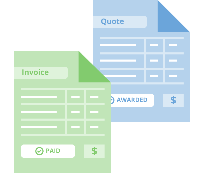 Paid invoice and an awarded quote for survey projects
