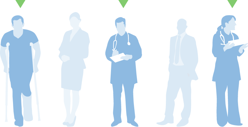 A healthcare consumer, male doctor and female doctor being recruited out of five people for a medical survey